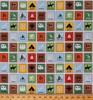 Cotton Camping Campground Signs Tenting Hiking Outdoor Recreation Activities Vacation Happy Camper Cotton Fabric Print by the Yard (1333-1)