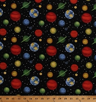 Cotton Outer Space Planets Universe Solar System Stars on Black Cotton Fabric Print by the Yard (1801-99)
