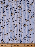 Cotton Winter Chickadees Birds Birch Trees Woods Forest Blue Cotton Fabric Print by the Yard (WINTER-C6128-POWDER)