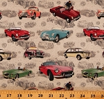 Cotton Classic Cars MG British Motor Cars Sports Cars Allover Gray Cotton Fabric Print by the Yard (DDC9150-CREM-D)