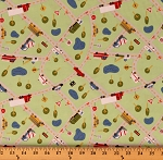 Cotton Kids Cars Trucks School Buses Beep Rumble Keep on Truck'n Light Green Cotton Fabric Print by the Yard (Y2676-20)