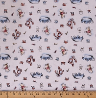Cotton Pooh and Friends Kids Animals Disney White Cotton Fabric Print by the Yard (68676-A620715)