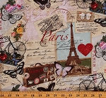 Cotton Paris France Postcards Letters Mail Script Cotton Fabric Print by the Yard (PARIS-C2299-ANTIQUE)