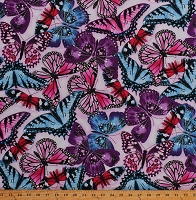 Cotton Butterflies Insects Bugs Butterfly Vortex Botanical Summer Spring Gardening Garden Pink Purple Blue Cotton Fabric Print by the Yard (4811-22)