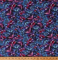 Cotton Butterflies Insects Bugs Beautiful Butterfly Vortex Botanical Summer Spring Gardening Garden Purple Pink Blue Cotton Fabric Print by the Yard (4815-58)