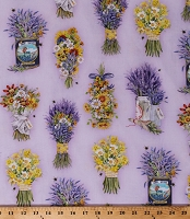 Cotton Flowers Floral Bouquets Bees Lavender Daffodils Purple Cotton Fabric Print by the Yard (AMK-17446-23Lavender)