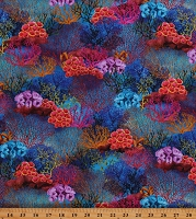 Cotton Coral Oceans Waters Colorful Seas Underwater Fanta Cotton Fabric Print by the Yard (04281-Multicolor)