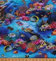 Cotton Fishes Turtles Coral Ocean Water Sharks Underwater Fanta Cotton Fabric Print by the Yard (04280-Multicolor)