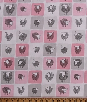 Cotton Sheep Wooley Sheep Farm Animals Country Pink Gray Cotton Fabric Print by the Yard (AUK-17631-10-PINK)