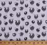 Cotton Wooley Sheep Farm Animals Barnyard Country Black White Cotton Fabric Print by the Yard (AUK-17632-2BLACK)