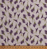 Cotton Sweet Lavender Flowers Floral Bouquets Butterflies on Cream Cotton Fabric Print by the Yard (Y2648-57CREAM)
