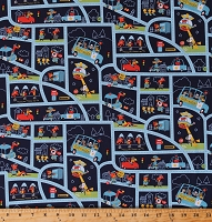Cotton Kids Animals Policemen Police Officers Burglers Cars Cute Funny Cops & Robbers Cotton Fabric Print by the Yard (C8611 NAVY)