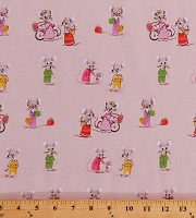 Cotton Cute Mice Country Mouse Family Kids Children's Trixie Heather Ross Light Pink Cotton Fabric Print by the Yard (50897-2)