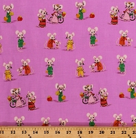 Cotton Cute Mice Country Mouse Family Kids Children's Trixie Heather Ross Pink Cotton Fabric Print by the Yard (50897-5)