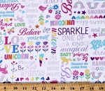 Cotton Unicorns Flowers Birds Stars Hearts Rainbows Magical Words Kids Girls White Cotton Fabric Print by the Yard (9804P-09)