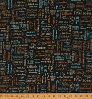 Cotton Cats Kittens Animals Words Descriptions Puns Felines Purrfect Day Black Cotton Fabric Print by the Yard (52373-2)