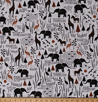 Cotton African Animals Elephants Giraffes Zebras Wildlife Nature on White Paper Art Safari Cotton Fabric Print by the Yard (51141-3)