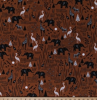 Cotton African Animals Elephants Giraffes Zebras Wildlife Nature on Brown Paper Art Safari Cotton Fabric Print by the Yard (51141-1)
