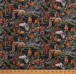 Cotton African Safari Animals Giraffes Elephants Rhinos Lions Zebras Hippos Gazelles Cheetahs Wildlife Stonehenge Savanna DIgitally Printed Green Cotton Fabric Print by the Yard (DP23251-99BLACKMULTI)