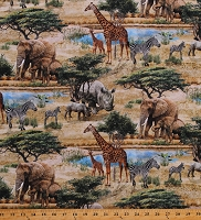 Cotton African Safari Animals Giraffes Elephants Rhinos Lions Zebras Hippos Wildlife Trees Stonehenge Savanna DIgitally Printed Tan Cotton Fabric Print by the Yard (DP23250-12TANMULTI)