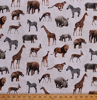 Cotton African Safari Animals Giraffes Rhinos Hippos Lions Cheetahs Elephants on Cream Cotton Fabric Print by the Yard (DP23252-11CREAMMULTI)
