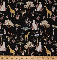 Cotton African Safari Animals Giraffes Ostriches Cheetahs Trees Safari Dreams Menagerie Black Cotton Fabric Print by the Yard (29180101-03)
