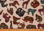 Cotton Serengeti Safari African Elephants Animals Boho Cream Cotton Fabric Print by the Yard (1649-27764-E)