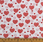 Cotton Hearts Valentines Day Love Red Hearts on White Dotty for Scottie Cotton Fabric Print by the Yard (07889-09)