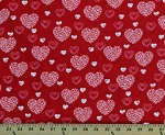 Cotton Hearts Valentines Day Love White Hearts on Red Dotty for Scottie Cotton Fabric Print by the Yard (07889-10)
