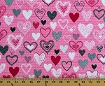 Cotton Hearts Pink Love Valentines Day Knit Together Cotton Fabric Print by the Yard (07873-02)