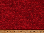 Cotton Roses Valentine's Day Flowers Floral Love Red Cotton Fabric Print by the Yard (FLUER-C7979-RED)