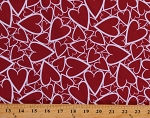 Cotton Valentines Day Hearts Holiday Love Red Cotton Fabric Print by the Yard (112600)