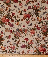 Cotton Flowers Floral Moths Blooms Nature Garden Spring Bed of Roses on Beige Cotton Fabric Print by the Yard (A-8985-L)