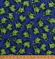 Cotton Leaping Frogs on Blue Happy Frogs Amphibians Animals Kids Cotton Fabric Print by the Yard (112-71581)