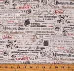 Cotton Calligraphy Script London Postage Stamps Mail Words on Off White Cotton Fabric Print by the Yard (52344-1)