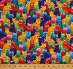 Cotton Colorful Funny Cats Packed Animals Pets Cotton Fabric Print by the Yard (GAIL-C8051-MULTI)
