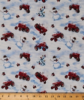 Cotton Farmall Tractors Farmall Logo Snowman Snowmen Pine Trees Birds Country Winter Cotton Fabric Print by the Yard (10183)