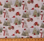 Cotton Snowy Cardinals Snowman Snowmen Birds Winter Pine Trees Christmas Gifts Holiday Cotton Fabric Print by the Yard (69168-A620715)