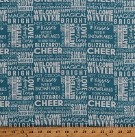 Cotton Winter Wonderland Words Phrases Sayings on Blue Christmas Holiday Snow Much Fun Cotton Fabric Print by the Yard (Y2212-99)