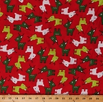 Cotton Reindeer Christmas Festive Holiday Red White Green Deer Animals Jingle 3 Cotton Fabric Print by the Yard (AAK-15268-3-RED)