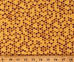 Cotton Honeycomb Hexagons Pattern Honey Bees Honeybees Bee Grateful Gold Cotton Fabric Print by the Yard (19966-12)