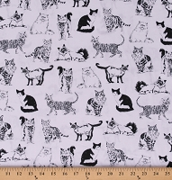 Cotton Cats Pattern Types of Cats Black and White Cotton Fabric Print by the Yard (CAT-C8241)