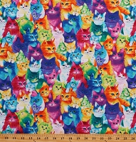 Cotton Rainbow Cats Kittens Pets Cotton Fabric Print by the Yard (CAT-C7485)