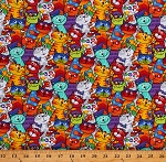 Cotton Animals Cats Kitten Colorful Multicolor Cotton Fabric Print by the Yard (GAIL-C6341-MULTI)