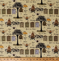 Cotton Bees Honeybees Save Our Bees Bee Skeps Beehive Bee A Keeper Cotton Fabric Print by the Yard (4784-44)