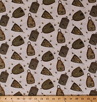 Cotton Beehives Bee Skeps Honeybees Bees Bee A Keeper Beekeepers Country Cotton Fabric Print by the Yard (4785-44)
