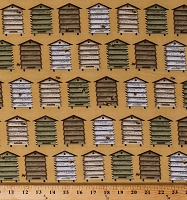 Cotton Beehives Bee Skeps Honeybees Bees Bee A Keeper Beekeepers Country Cotton Fabric Print by the Yard (4786-44)