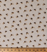 Cotton Bees Honeybees Save Our Bees Bee A Keeper Cotton Fabric Print by the Yard (4781-44)