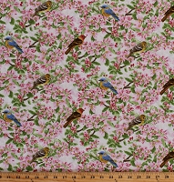 Cotton Apple Blossoms Blooms Flowers Floral Birds Apple Festival Pink Cotton Fabric Print by the Yard (1519-48)