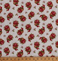 Cotton Apple Festival Apples Baskets Blossoms Fruit Food Harvest Autumn Fall Autumnal Red Cotton Fabric Print by the Yard (1524-48)